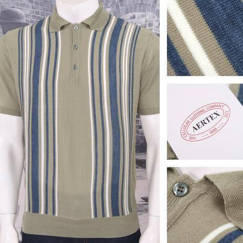 Authentic Aertex (Exclusive to Adaptor) Made in Italy Multi Stripe Knit Polo Shi Thumbnail 2