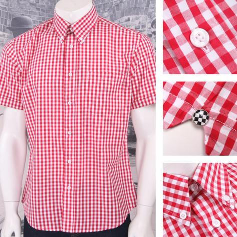 SPECIAL OFFER Warrior Button Down Classic Gingham S/S Shirt Red Thumbnail 1
