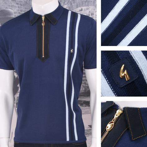 Gabicci Vintage Mod Retro 60's Faux Suede Zip Collar Knit Striped Polo Blue