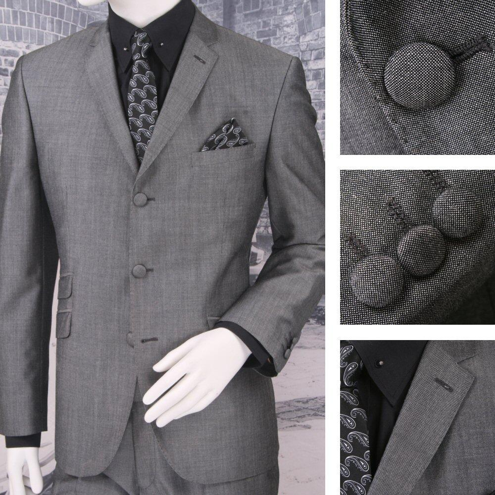 Adaptor Clothing Mod 3 Button Tonic Two Tone Mohair Suit SILVEER/Grey