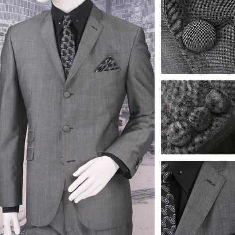 Adaptor Clothing Mod 3 Button Tonic Two Tone Mohair Suit SILVEER/Grey Thumbnail 1
