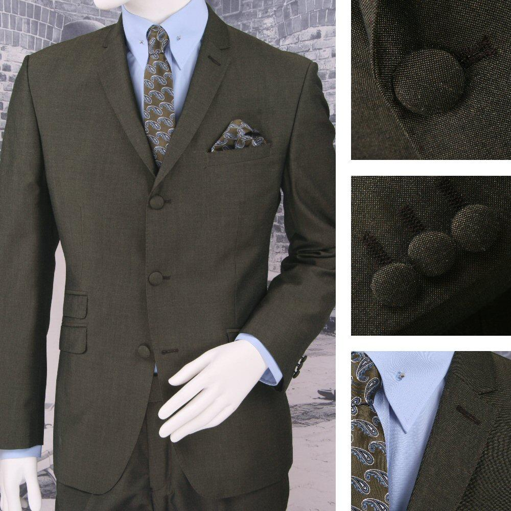 Adaptor Clothing Mod 3 Button Tonic Two Tone Mohair Suit BRONZE/Green