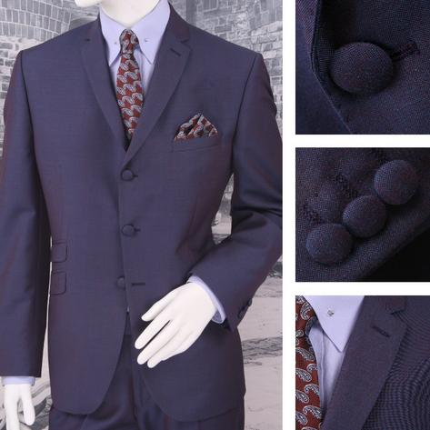 Adaptor Clothing Mod 3 Button Tonic Two Tone Mohair Suit PURPLE/Blue Thumbnail 1