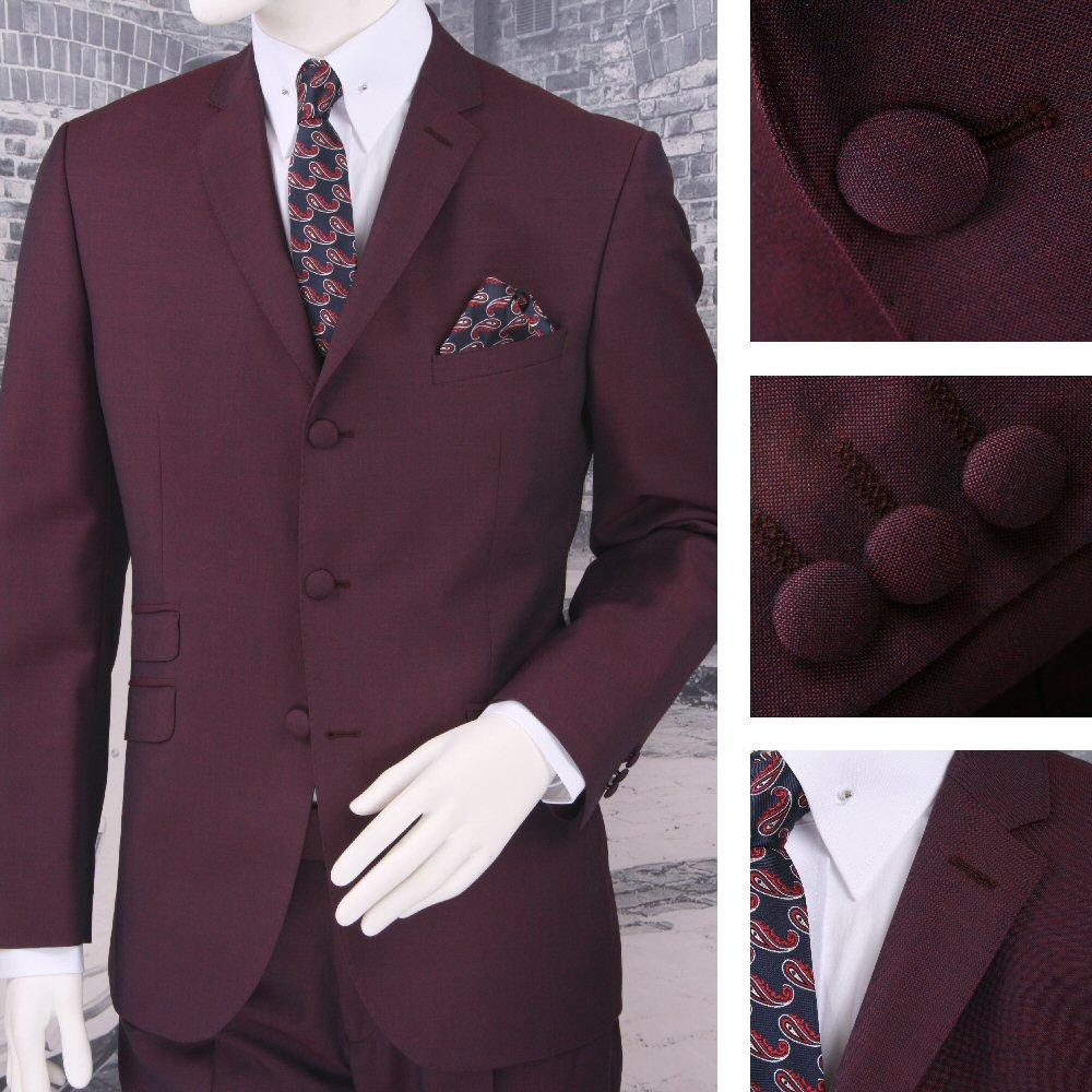 Adaptor Clothing Mod 3 Button Tonic Two Tone Mohair Suit BURGUNDY