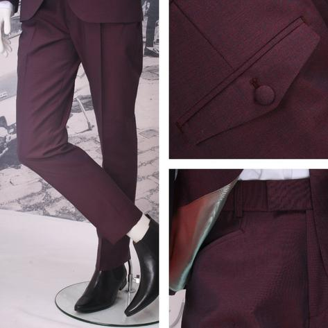 Adaptor Clothing Mod 3 Button Tonic Two Tone Mohair Suit BURGUNDY Thumbnail 2