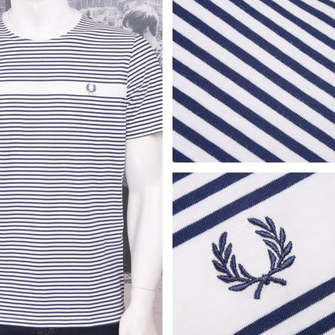 Fred Perry Mod 60's Laurel Wreath Fine Stripe Cotton T-Shirt White Thumbnail 1
