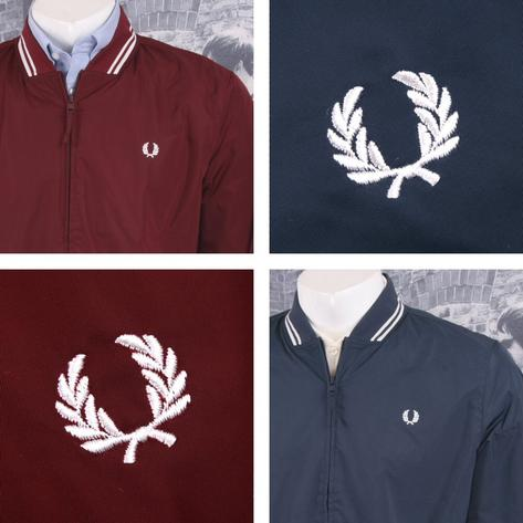Fred Perry Mod 60's Tipped Showerproof Bomber Monkey Jacket Navy Thumbnail 1