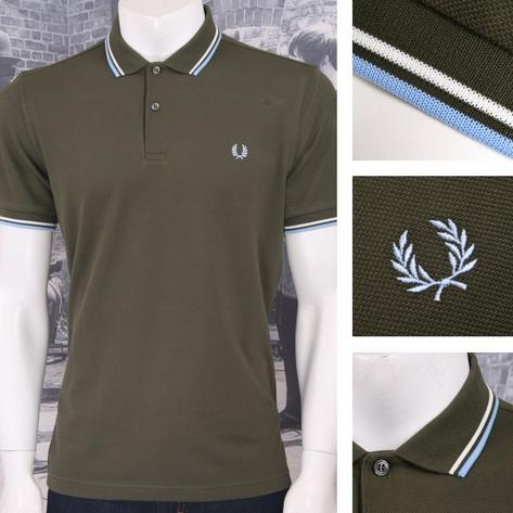 Fred Perry Mod 60's Laurel Wreath Pique Knit Tipped Polo Shirt Green Thumbnail 1