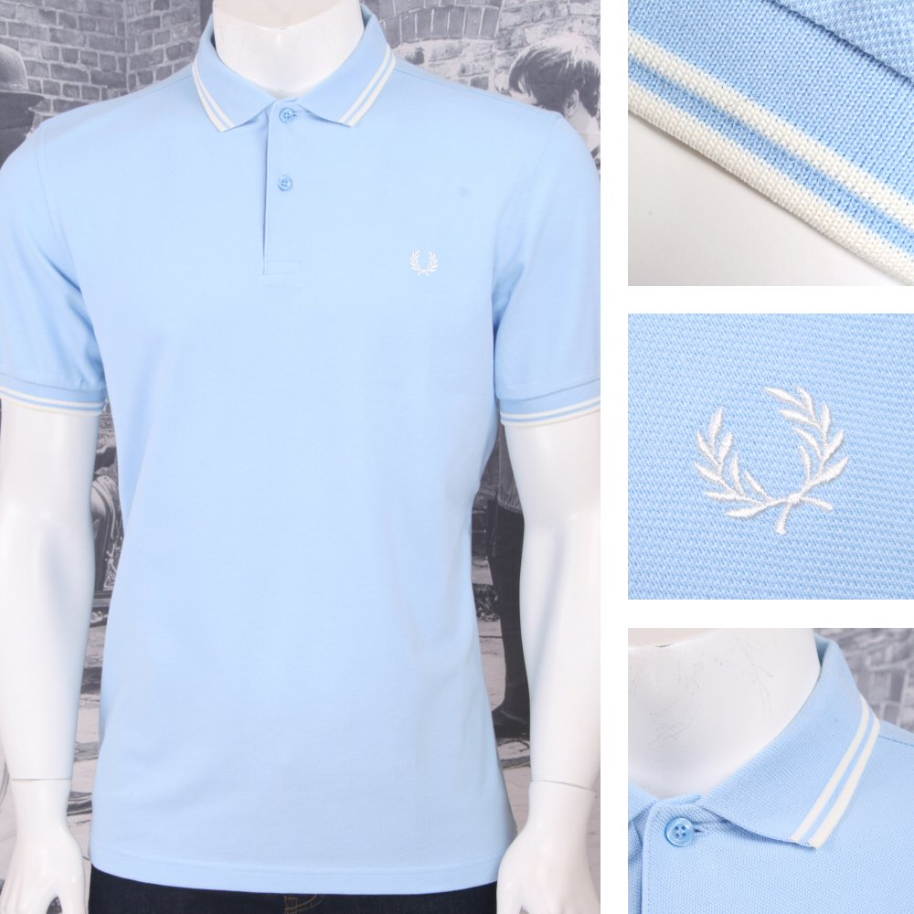 e8d75d45 Fred Perry Mod Laurel Wreath Pique Tipped Polo Shirt Pastel ...