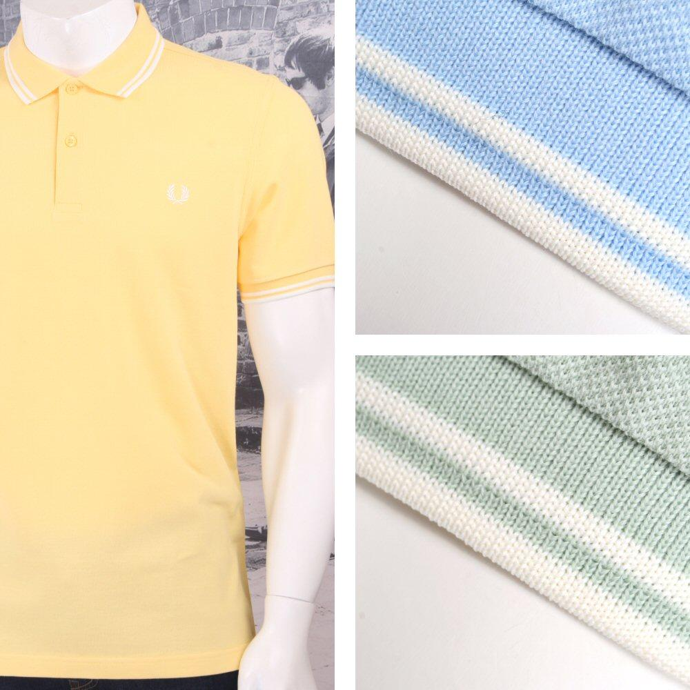 Fred Perry Mod Laurel Wreath Pique Tipped Polo Shirt Pastel