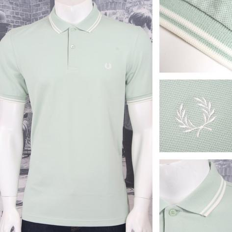 Fred Perry Mod Laurel Wreath Pique Tipped Polo Shirt Pastel Thumbnail 4