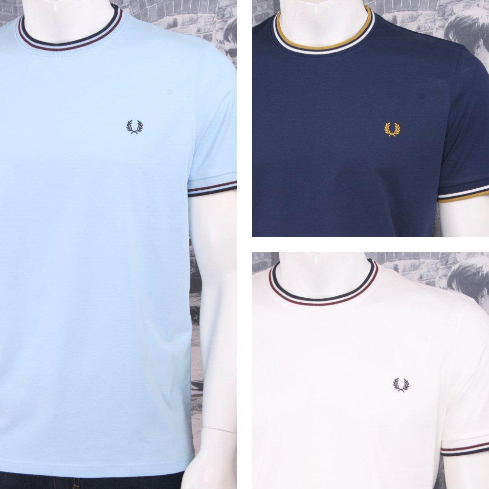 New Mens Fred Perry  T-Shirt Ringer Sky Blue  Short sleeve  Crew neck