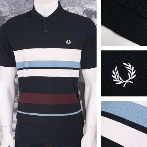 Fred Perry Mod 60's Retro Mixed Multi Stripe Pique Polo Shirt Thumbnail 2