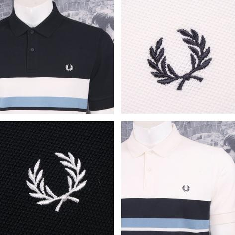 Fred Perry Mod 60's Retro Mixed Multi Stripe Pique Polo Shirt Thumbnail 1