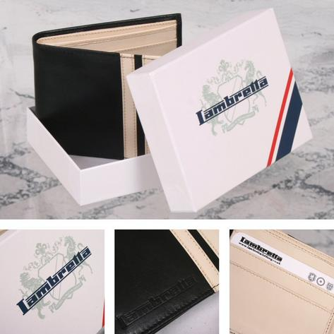Lambretta Racing Stripe Mod Retro Leather Mans Wallet Black