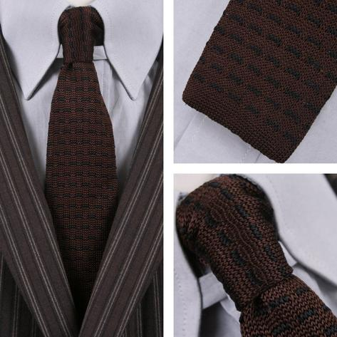 Knightsbridge Mod 60's Retro Dash Stripe Slim Square End Knitted Silk Tie Brown Thumbnail 1