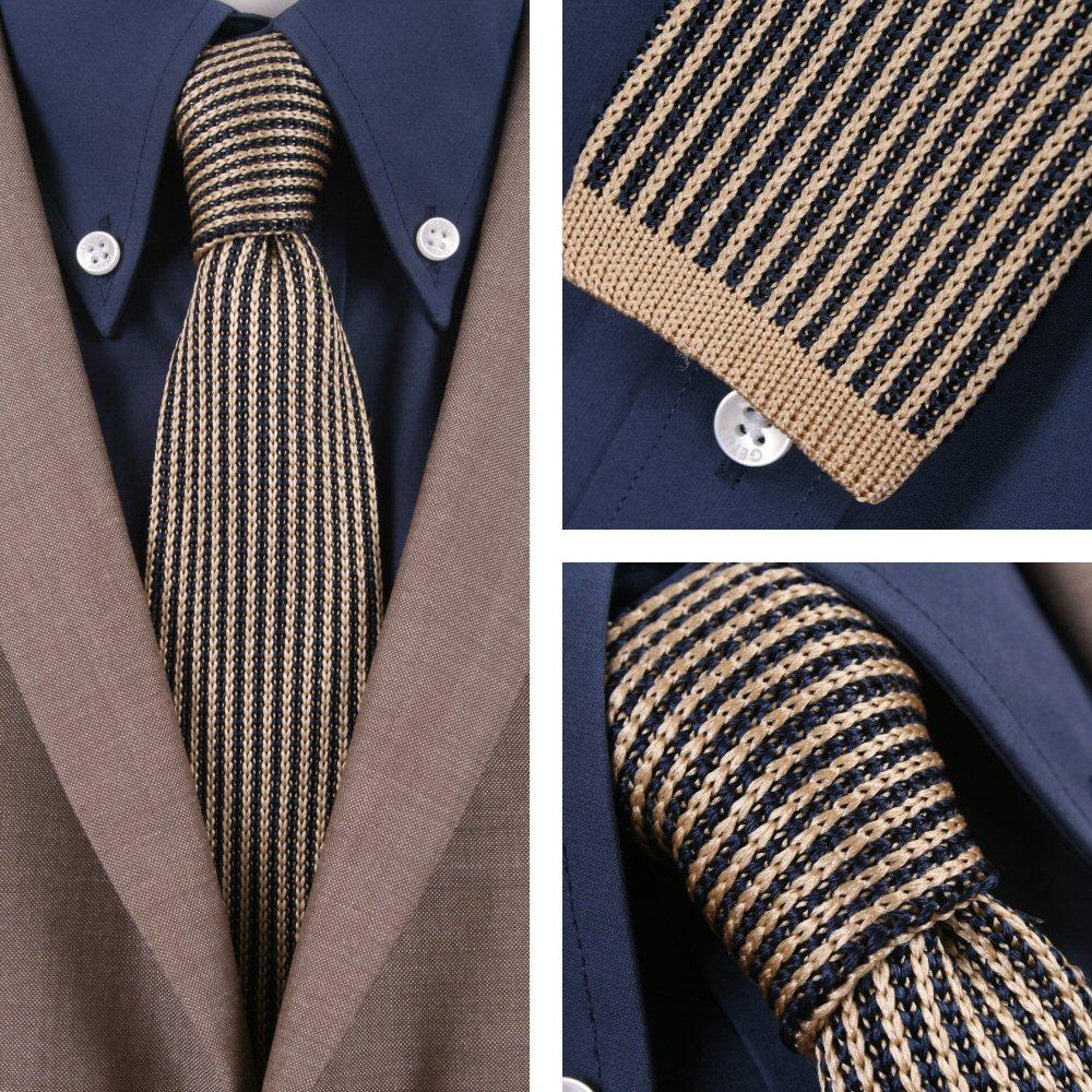 Knightsbridge Mod 60's Retro Vertical Stripe Slim Square End Knitted Silk Tie Na