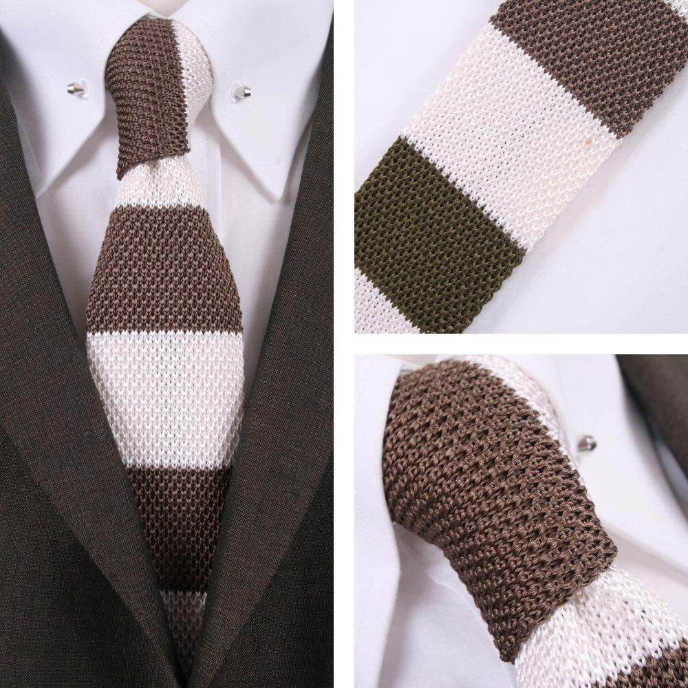 Knightsbridge Mod 60's Retro Block Stripe Slim Square End Knitted Silk Tie Ivory