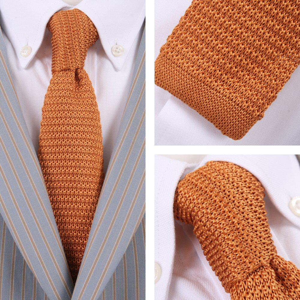 Knightsbridge Retro Mod 60's Slim Square End Plain Knitted Silk Tie Ochre Mustar