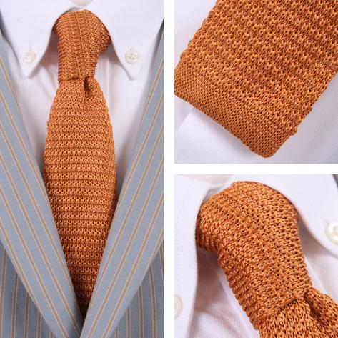 Knightsbridge Retro Mod 60's Slim Square End Plain Knitted Silk Tie Ochre Mustar Thumbnail 1