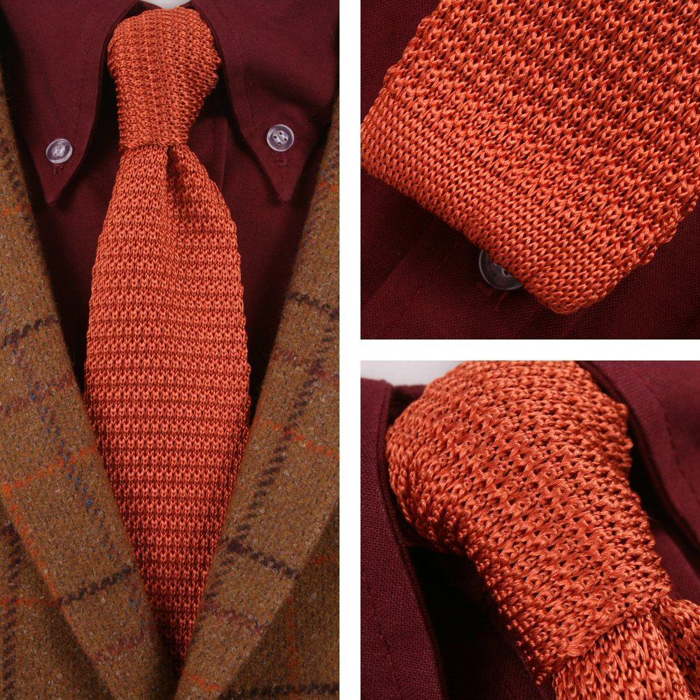 a94323fdc2f5 Knightsbridge Retro Mod 60's Slim Square End Plain Knitted Silk Tie Burnt  Orange | Adaptor Clothing