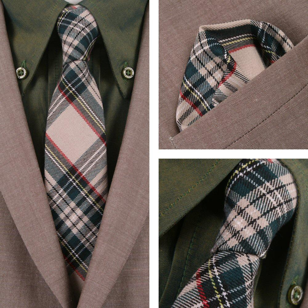 Knightsbridge Retro Mod 60's Matching Tartan Tie and Pocket Square Beige / Green