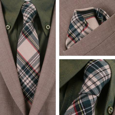 Knightsbridge Retro Mod 60's Matching Tartan Tie and Pocket Square Beige / Green Thumbnail 1