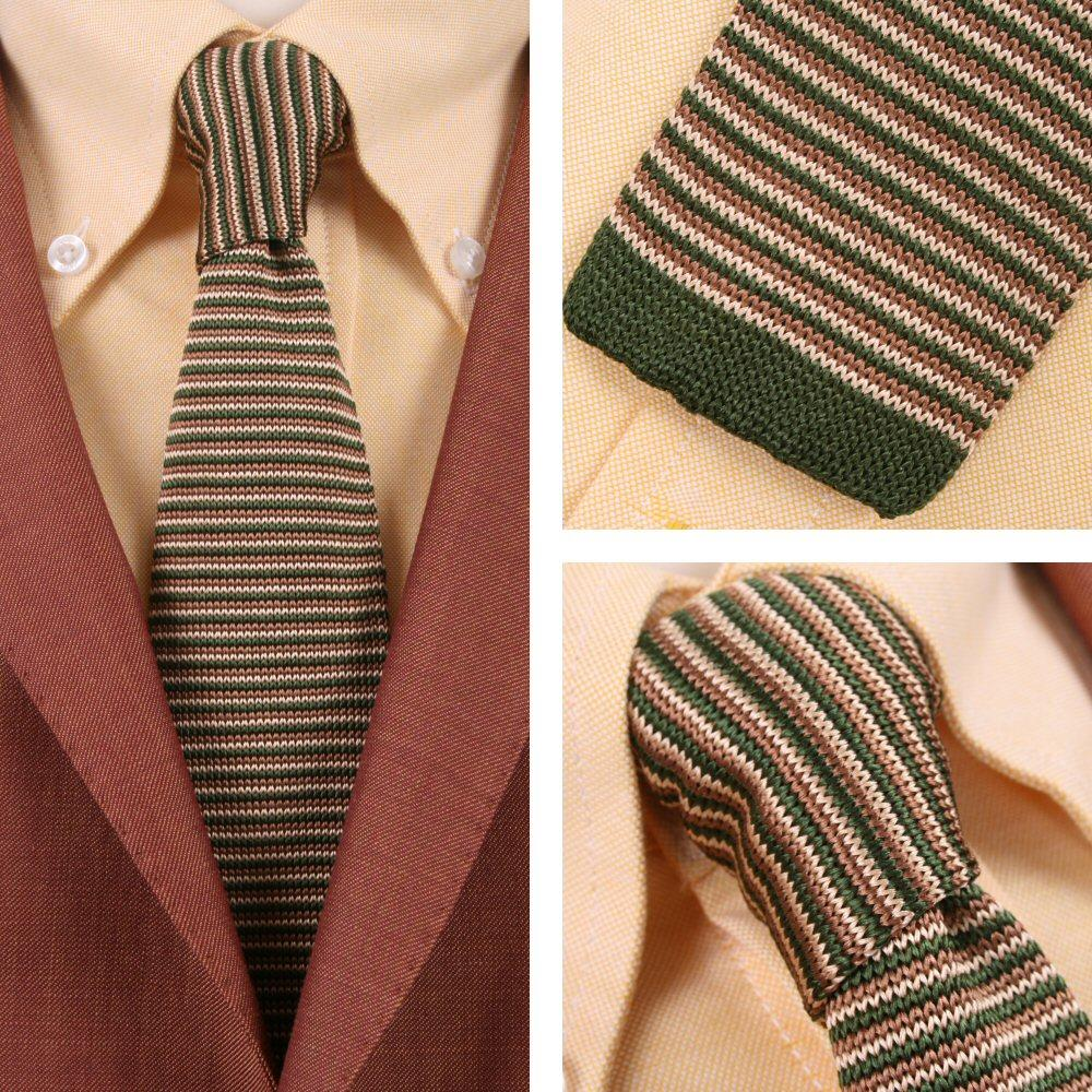Knightsbridge Retro Mod 60's Ivy Slim Square End Micro Stripe Knitted Silk Tie G
