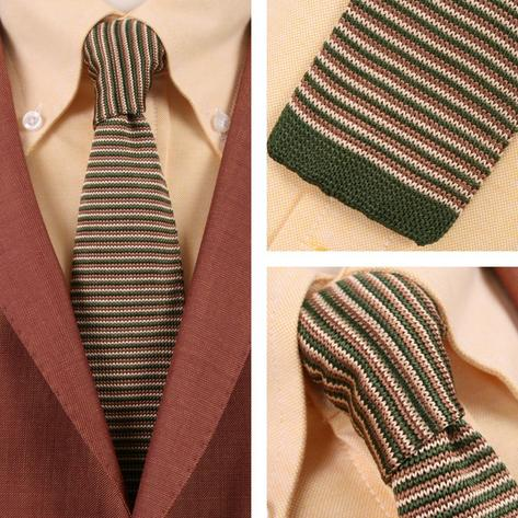 Knightsbridge Retro Mod 60's Ivy Slim Square End Micro Stripe Knitted Silk Tie G Thumbnail 1