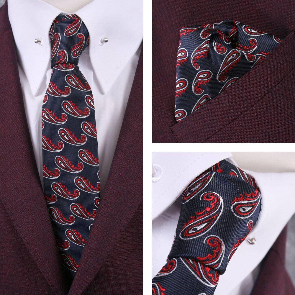 Knightsbridge Retro Mod 60's Matching Paisley Silk Slim Tie and Pocket Square Na