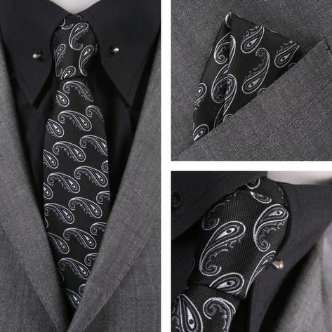 Knightsbridge Retro Mod 60's Matching Paisley Silk Slim Tie and Pocket Square Bl