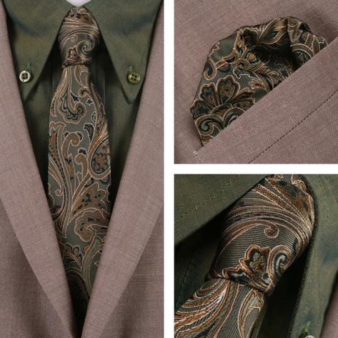 Knightsbridge Retro Mod 60's Matching Paisley Silk Slim Tie and Pocket Square Gr Thumbnail 1