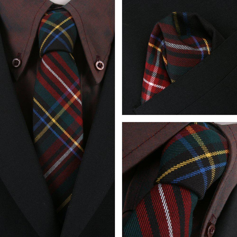 Knightsbridge Retro Mod 60's Matching Tartan Tie and Pocket Square Black / Red