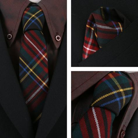 Knightsbridge Retro Mod 60's Matching Tartan Tie and Pocket Square Black / Red Thumbnail 1