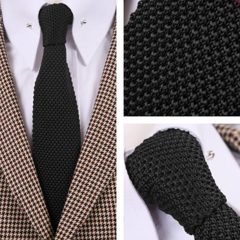 Tootal Vintage Mod 60's Retro Classic Slim Square End Plain Knitted Silk Tie Thumbnail 1