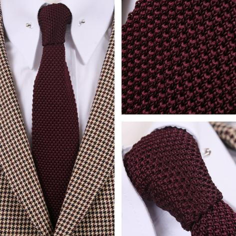 Tootal Vintage Mod 60's Retro Classic Slim Square End Plain Knitted Silk Tie Thumbnail 2
