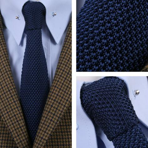 Tootal Vintage Mod 60's Retro Classic Slim Square End Plain Knitted Silk Tie Thumbnail 3