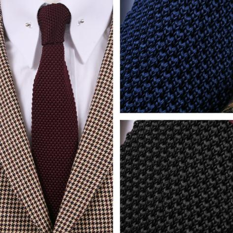 Tootal Vintage Mod 60's Retro Classic Slim Square End Plain Knitted Silk Tie Thumbnail 4