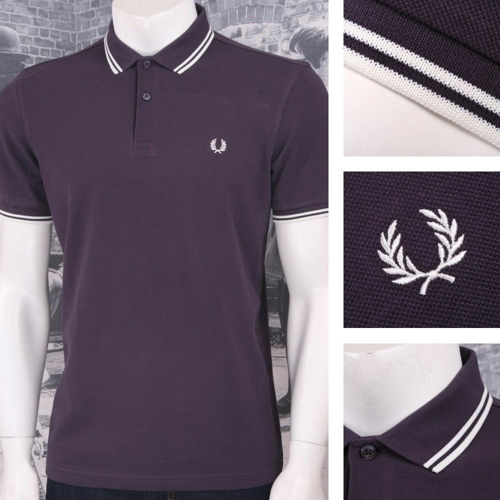 Fred Perry Mod 60's Laurel Wreath Pique Knit Tipped Polo Shirt Plum