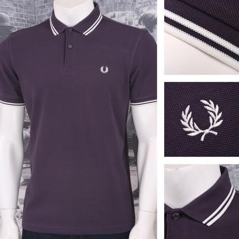 Fred Perry Mod 60's Laurel Wreath Pique Knit Tipped Polo Shirt Plum Thumbnail 1