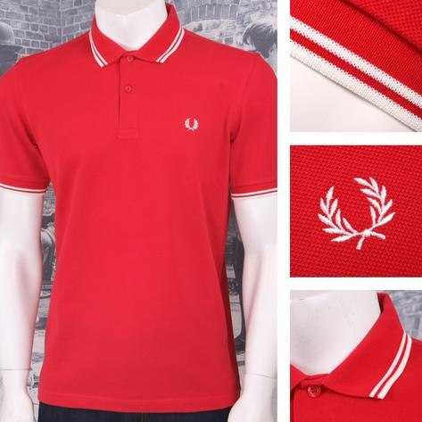 Fred Perry Mod 60's Laurel Wreath Pique Knit Tipped Polo Shirt Red