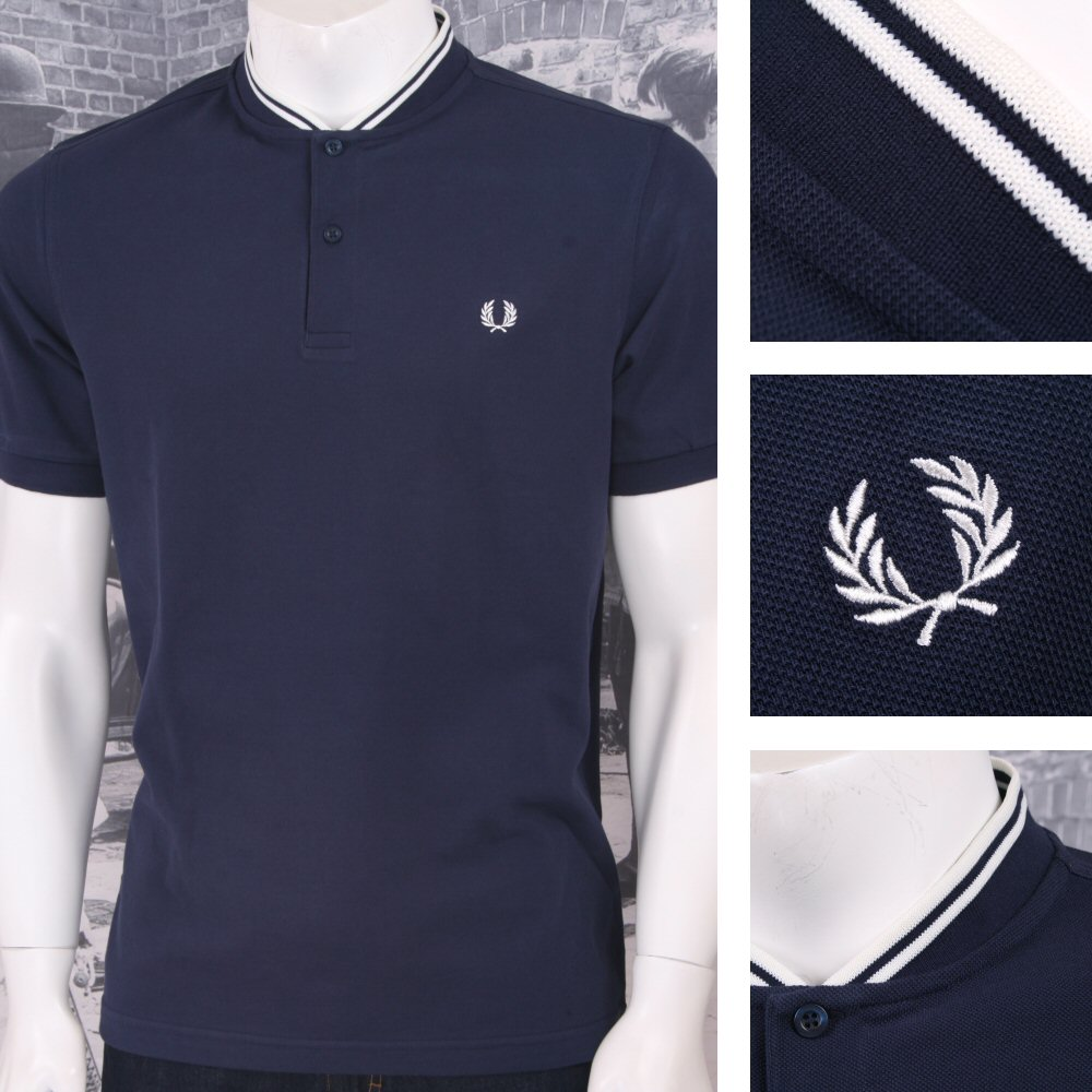 7d580b45a Fred Perry Mod 60's Laurel Wreath Pique Bomber Collar Polo Shirt Navy  Thumbnail 1 ...