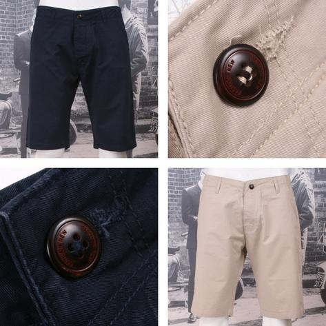 Hoxton London Classic Chino Style Shorts Navy Blue and Stone