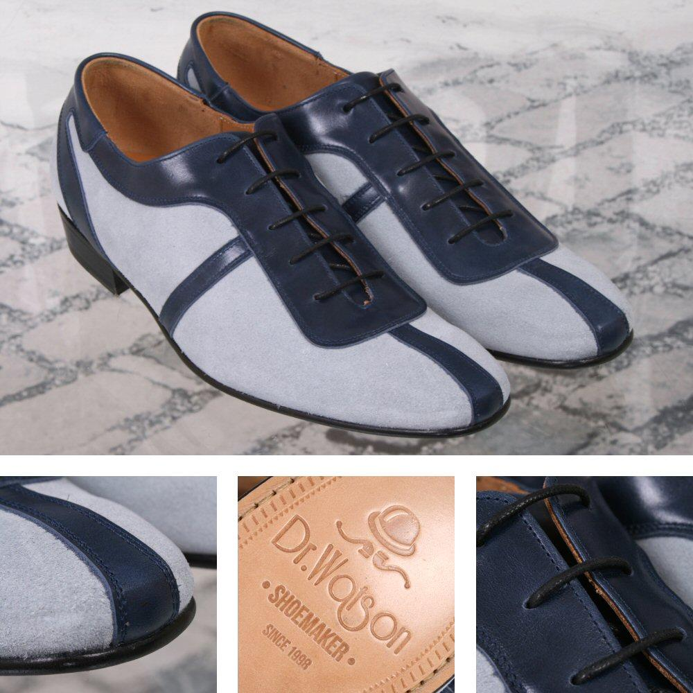 Dr Watson (Adaptor Exclusive) Handmade Leather / Suede Lace Up Shoe Navy and Blu