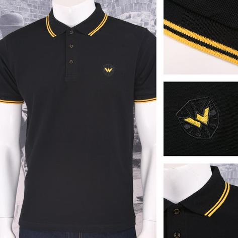 Warrior Clothing 3 Button Pique Short Sleeve Twin Tipped Retro Polo Shirt Black Thumbnail 1