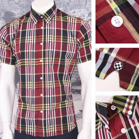 Warrior Mod Skin Retro Button Down S/S Windowpane Check Shirt Wine / Lime Thumbnail 1