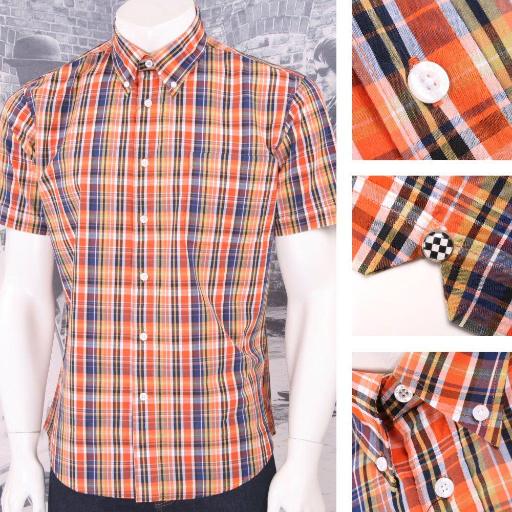 Warrior Mod Skin Retro Button Down S/S Fine Check Shirt Orange / Navy / Yellow