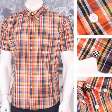 Warrior Mod Skin Retro Button Down S/S Fine Check Shirt Orange / Navy / Yellow Thumbnail 1