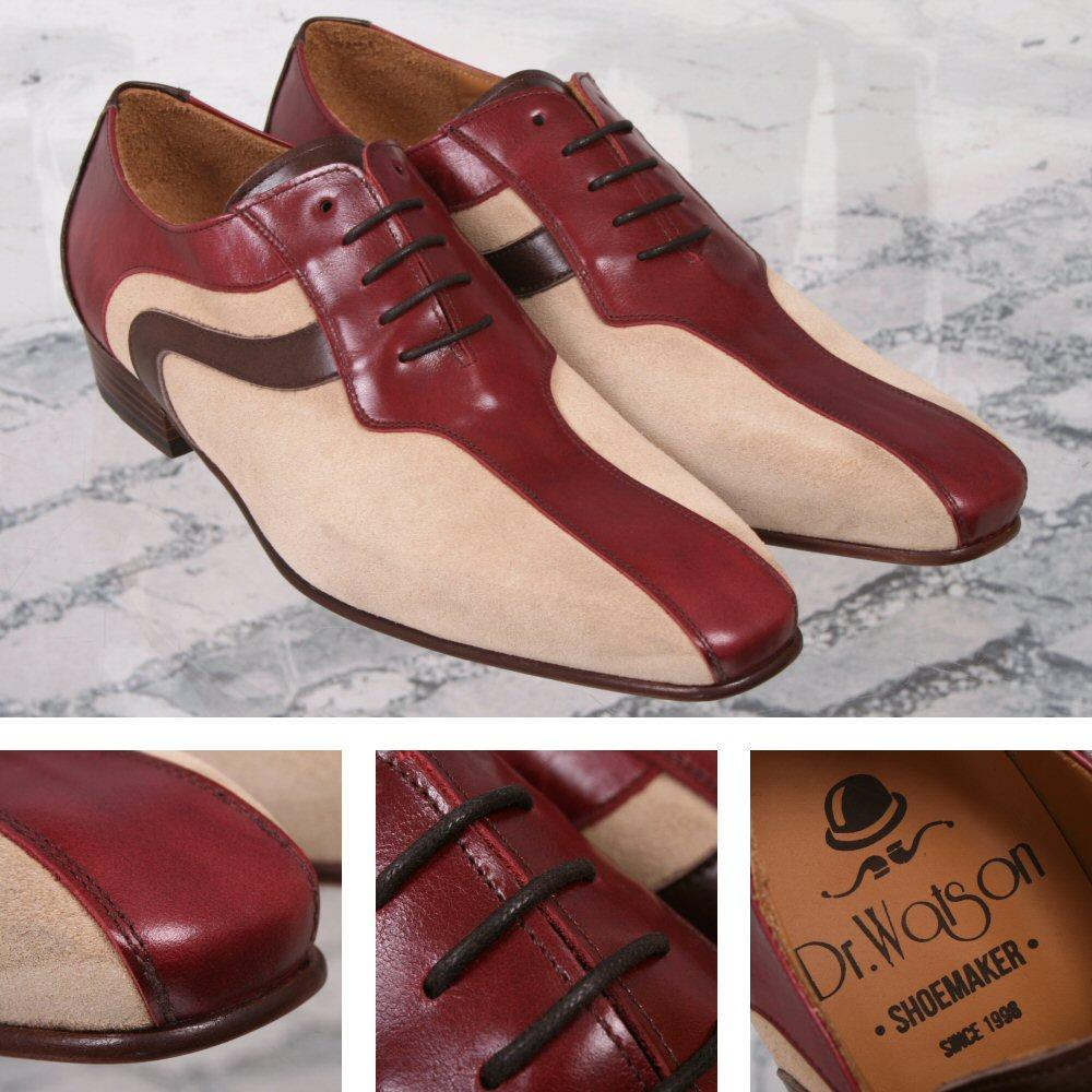 Dr Watson (Adaptor Exclusive) Handmade Leather / Suede Lace Up Shoe Stone and Wi