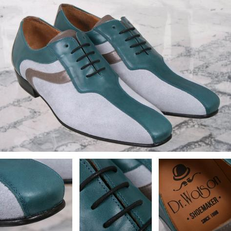 Dr Watson (Adaptor Exclusive) Handmade Leather / Suede Lace Up Shoe Sky and Teal Thumbnail 1